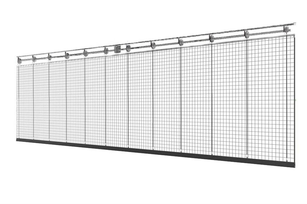 Системы разделения спортивного зала с полотном из сетки
