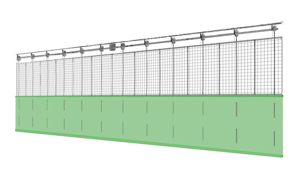 Системы разделения спортивного зала с комбинированным одинарным полотном ПВХ