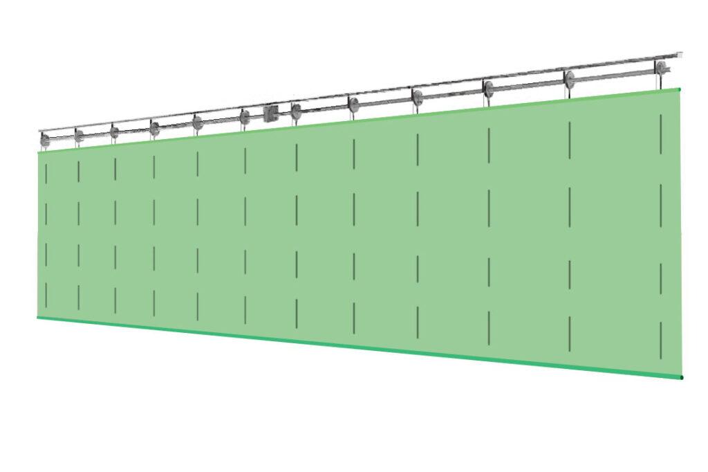 Системы разделения спортивного зала с цельным полотном ПВХ